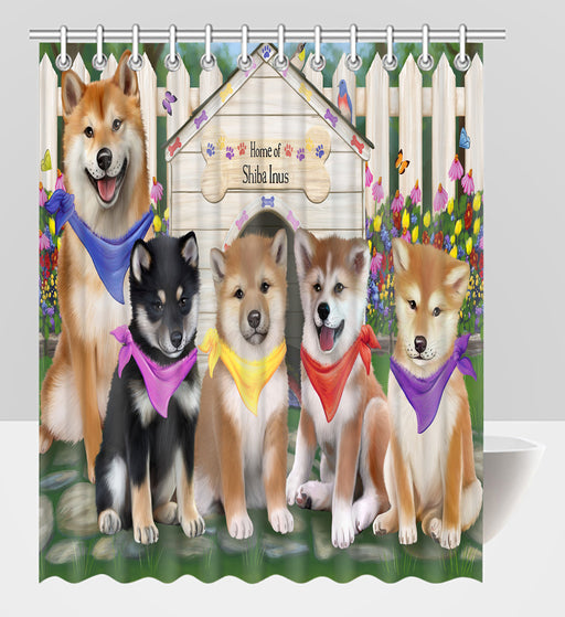 Spring Dog House Shiba Inu Dogs Shower Curtain