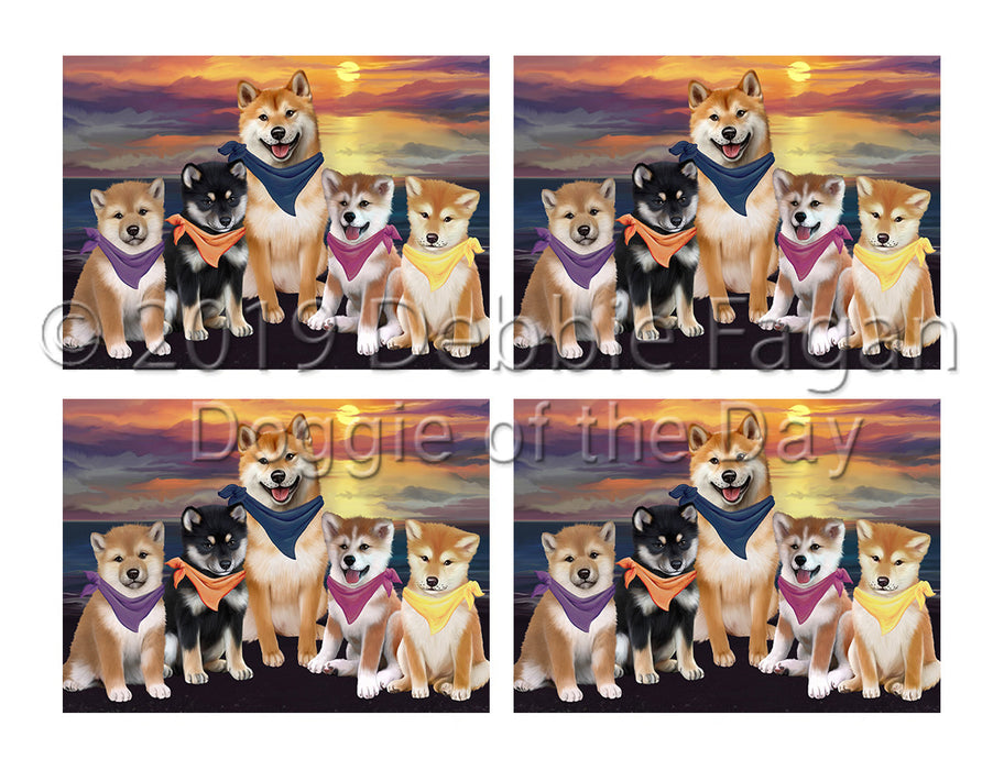 Family Sunset Portrait Shiba Inu Dogs Placemat