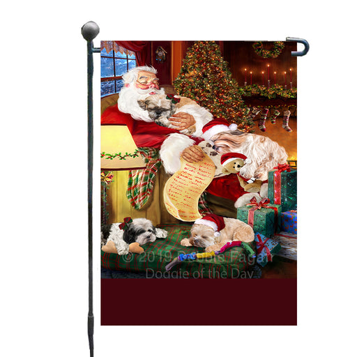 Personalized Shih Tzu Dogs and Puppies Sleeping with Santa Custom Garden Flags GFLG-DOTD-A62669