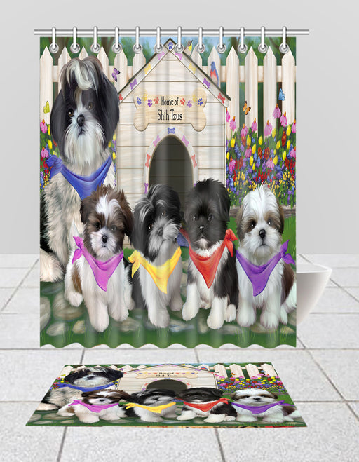 Spring Dog House Shih Tzu Dogs Bath Mat and Shower Curtain Combo