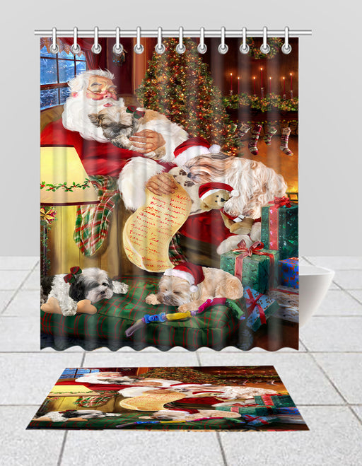 Santa Sleeping with Shih Tzu Dogs  Bath Mat and Shower Curtain Combo