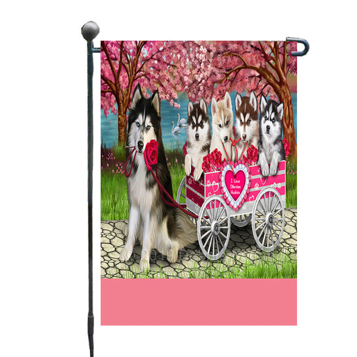 Personalized I Love Siberian Husky Dogs in a Cart Custom Garden Flags GFLG-DOTD-A62190