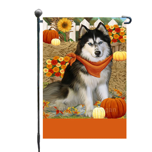 Personalized Fall Autumn Greeting Siberian Husky Dog with Pumpkins Custom Garden Flags GFLG-DOTD-A62062