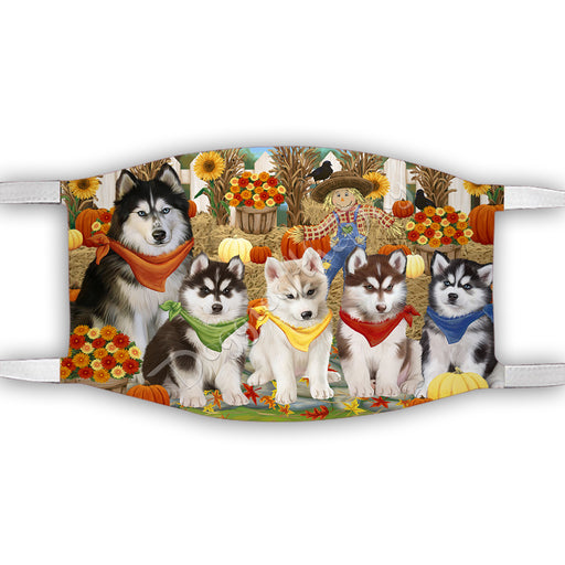 Fall Festive Harvest Time Gathering  Siberian Husky Dogs Face Mask FM48573