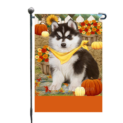 Personalized Fall Autumn Greeting Siberian Husky Dog with Pumpkins Custom Garden Flags GFLG-DOTD-A62066