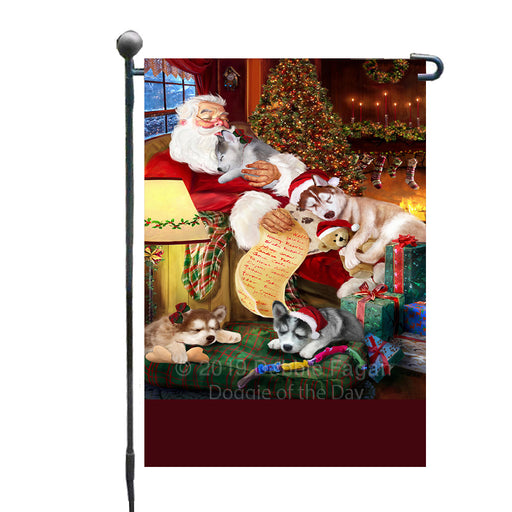 Personalized Siberian Husky Dogs and Puppies Sleeping with Santa Custom Garden Flags GFLG-DOTD-A62671