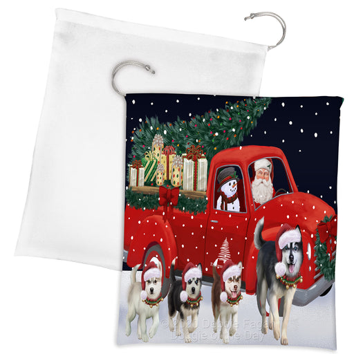 Christmas Express Delivery Red Truck Running Siberian Husky Dogs Drawstring Laundry or Gift Bag LGB48931
