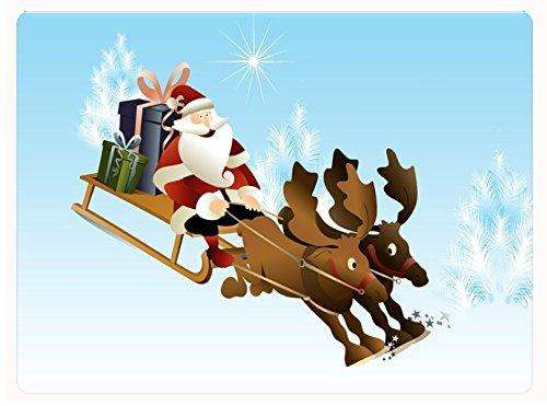 Sledding Santa and Reindeer Christmas Tempered Cutting Board