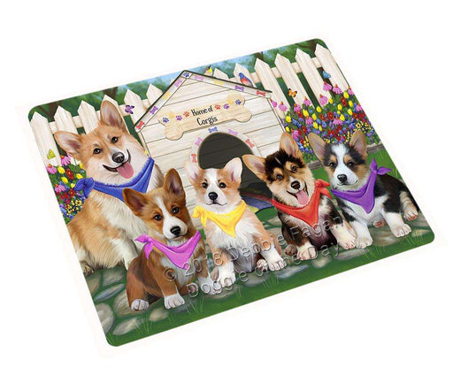 Spring Dog House Corgis Dog Tempered Cutting Board C53454