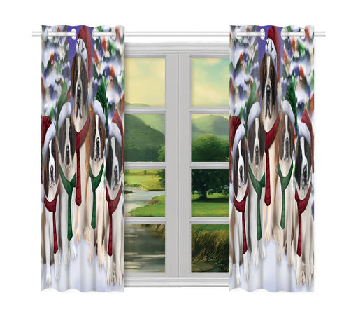 Saint Bernard Dogs Christmas Family Portrait in Holiday Scenic Background Window Curtain