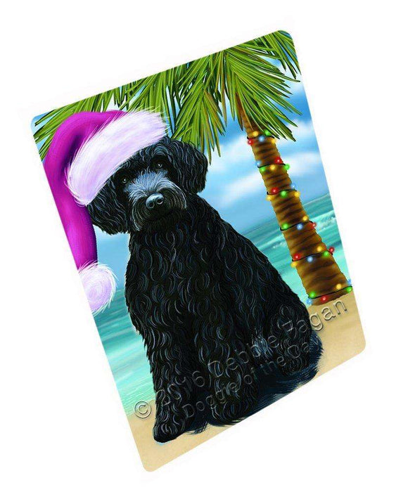 "Summertime Happy Holidays Christmas Barbets Dog On Tropical Island Beach Magnet Mini (3.5"" x 2"")"