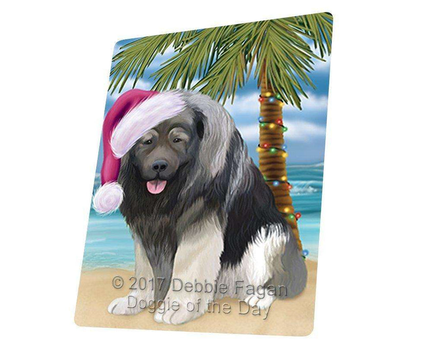 "Summertime Happy Holidays Christmas Caucasian Ovcharka Dog On Tropical Island Beach Magnet Mini (3.5"" x 2"") D165"
