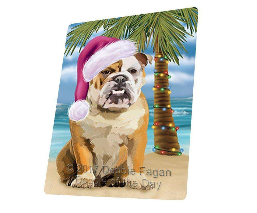 "Summertime Happy Holidays Christmas English Bulldog Dog On Tropical Island Beach Magnet Mini (3.5"" x 2"") D125"