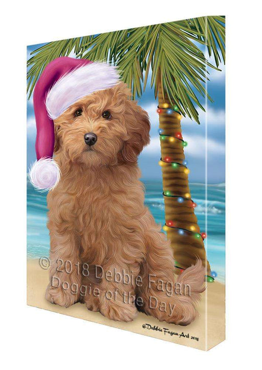 Summertime Happy Holidays Christmas Goldendoodle Dog on Tropical Island Beach Canvas Print Wall Art Décor CVS108881