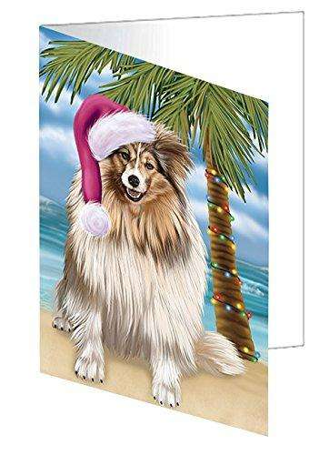 Summertime Happy Holidays Christmas Shetland Sheepdogs Dog on Tropical Island Beach Greeting Card D442