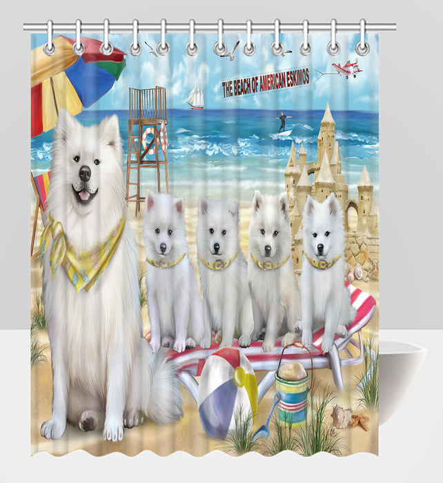 Pet Friendly Beach American Eskimo Dogs Shower Curtain
