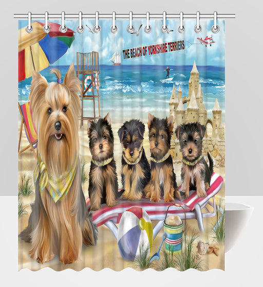 Pet Friendly Beach Yorkshire Terrier Dogs Shower Curtain