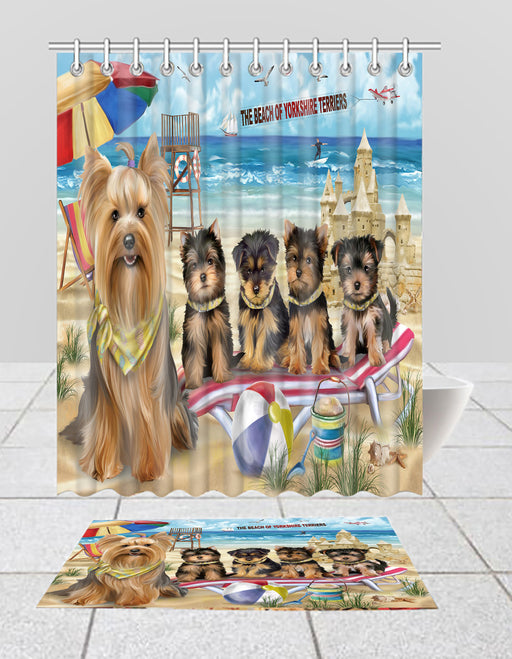 Pet Friendly Beach Yorkshire Terrier Dogs Bath Mat and Shower Curtain Combo