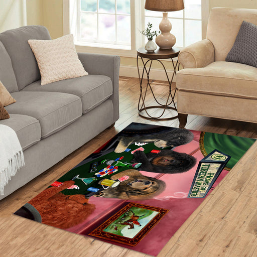 Home of  Tibetan Mastiff Dogs Playing Poker Area Rug