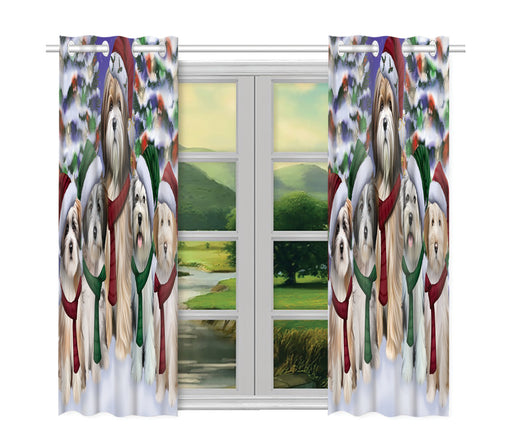 Tibetan Terrier Dogs Christmas Family Portrait in Holiday Scenic Background Window Curtain