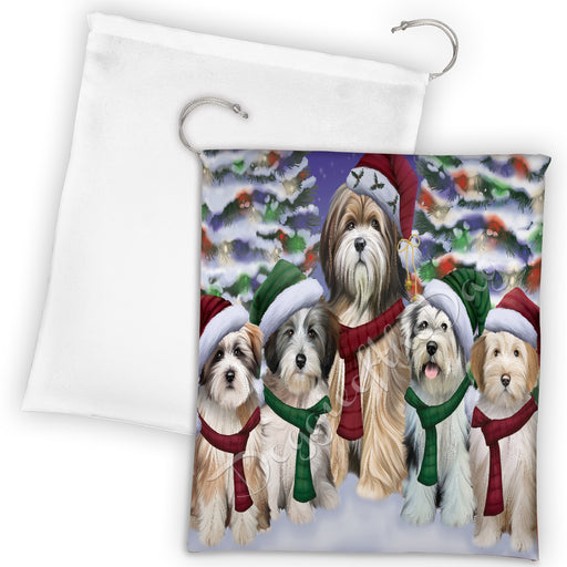 Tibetan Terrier Dogs Christmas Family Portrait in Holiday Scenic Background Drawstring Laundry or Gift Bag LGB48183