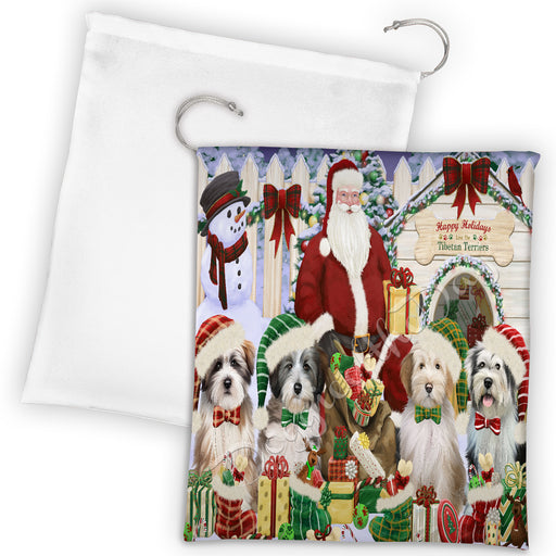 Happy Holidays Christmas Tibetan Terrier Dogs House Gathering Drawstring Laundry or Gift Bag LGB48087