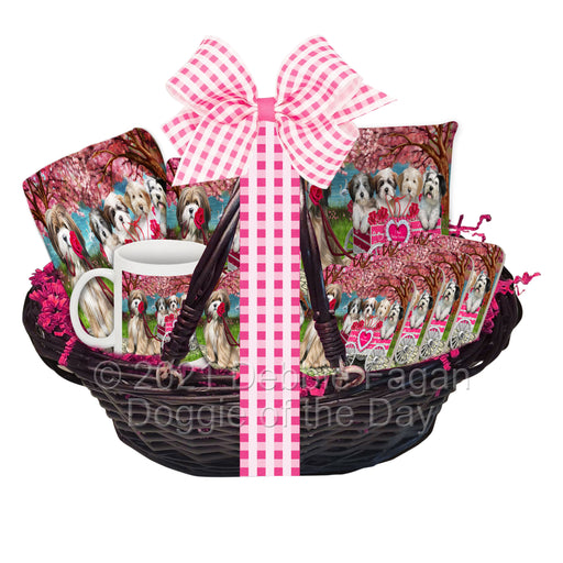 Mother's Day Gift Basket Tibetan Terrier Dogs Blanket, Pillow, Coasters, Magnet, Coffee Mug and Ornament
