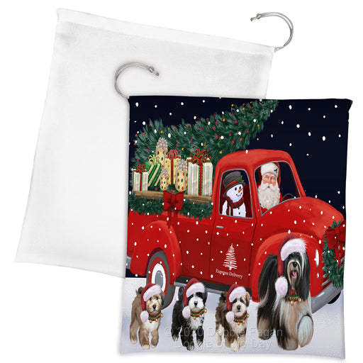 Christmas Express Delivery Red Truck Running Tibetan Terrier Dogs Drawstring Laundry or Gift Bag LGB48937