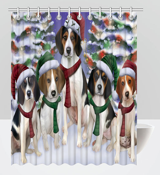 Treeing Walker Coonhound Dogs Christmas Family Portrait in Holiday Scenic Background Shower Curtain