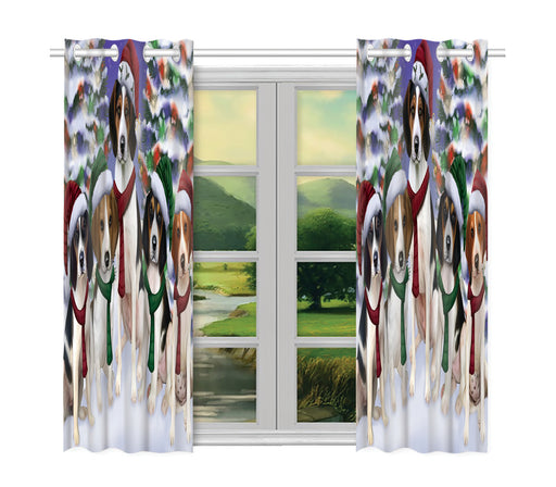 Treeing Walker Coonhound Dogs Christmas Family Portrait in Holiday Scenic Background Window Curtain