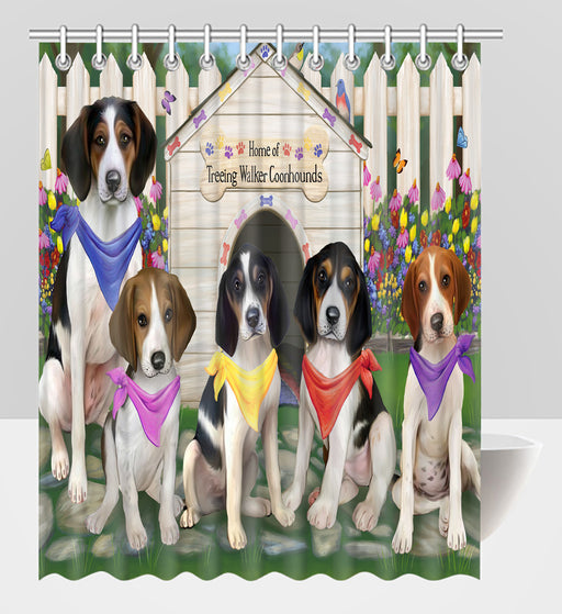 Spring Dog House Treeing Walker Coonhound Dogs Shower Curtain