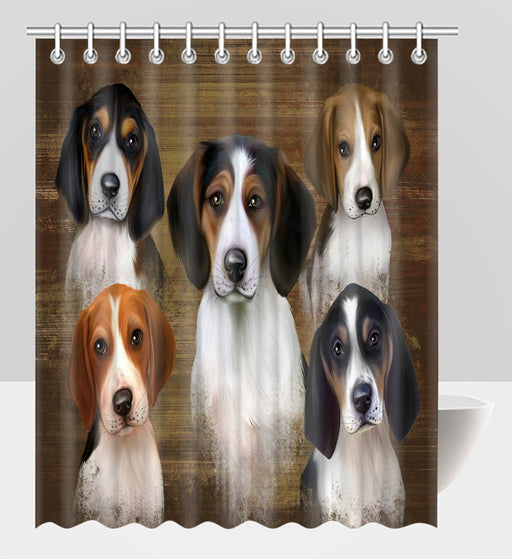 Rustic Treeing Walker Coonhound Dogs Shower Curtain