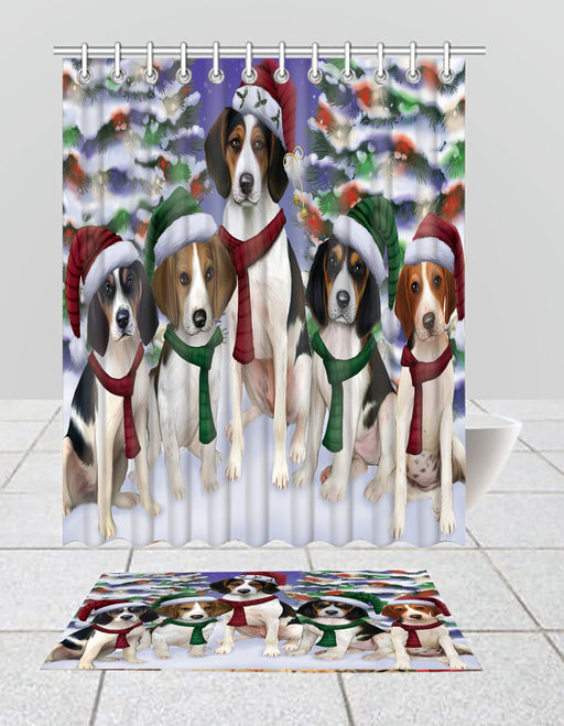 Treeing Walker Coonhound Dogs Christmas Family Portrait in Holiday Scenic Background  Bath Mat and Shower Curtain Combo