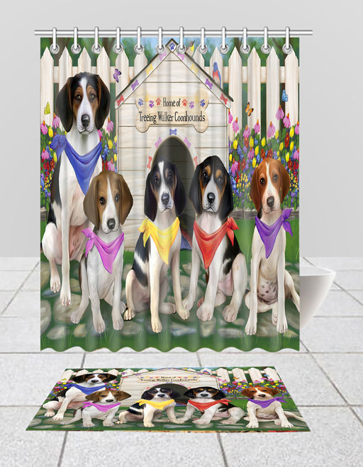 Spring Dog House Treeing Walker Coonhound Dogs Bath Mat and Shower Curtain Combo