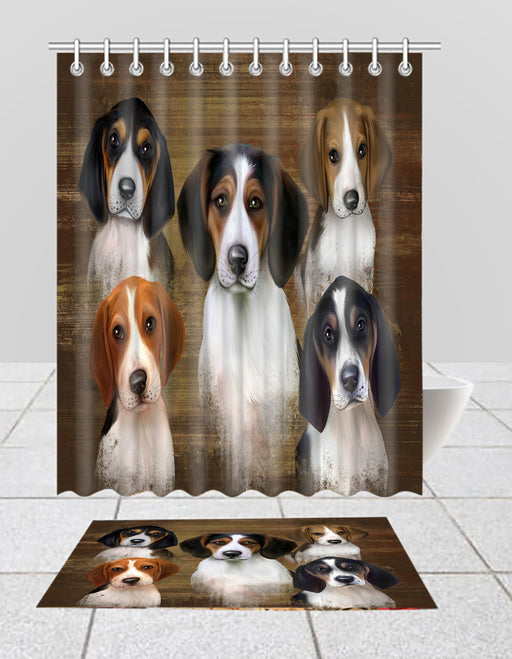 Rustic Treeing Walker Coonhound Dogs  Bath Mat and Shower Curtain Combo