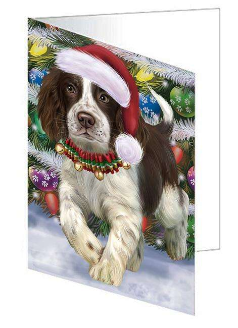 Trotting in the Snow English Springer Spaniel Dog Greeting Card GCD68141