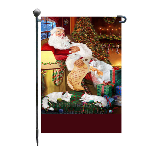 Personalized Turkish Angora Cats and Kittens Sleeping with Santa Custom Garden Flags GFLG-DOTD-A62676