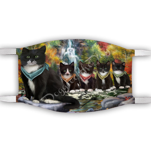 Scenic Waterfall Tuxedo Cats Face Mask FM49351