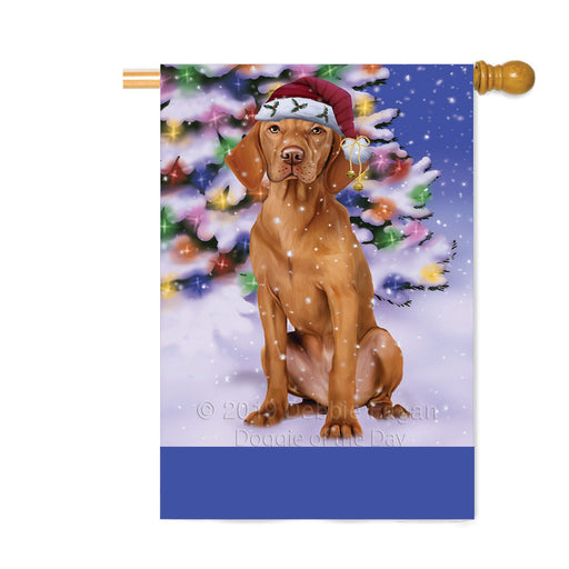 Personalized Winterland Wonderland Vizsla Dog In Christmas Holiday Scenic Background Custom House Flag FLG-DOTD-A61488