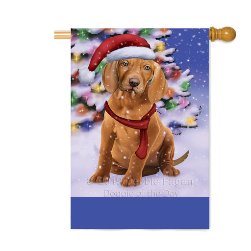 Personalized Winterland Wonderland Vizsla Dog In Christmas Holiday Scenic Background Custom House Flag FLG-DOTD-A61489