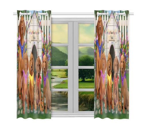 Spring Dog House Vizsla Dogs Window Curtain
