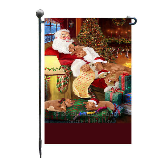 Personalized Vizsla Dogs and Puppies Sleeping with Santa Custom Garden Flags GFLG-DOTD-A62677