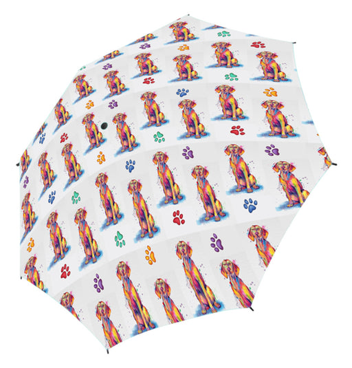 Watercolor Mini Vizsla DogsSemi-Automatic Foldable Umbrella
