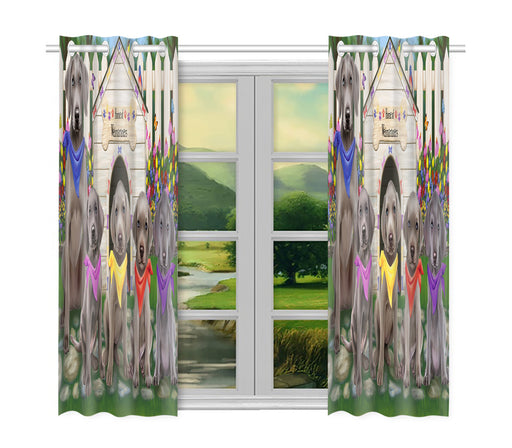 Spring Dog House Weimaraner Dogs Window Curtain