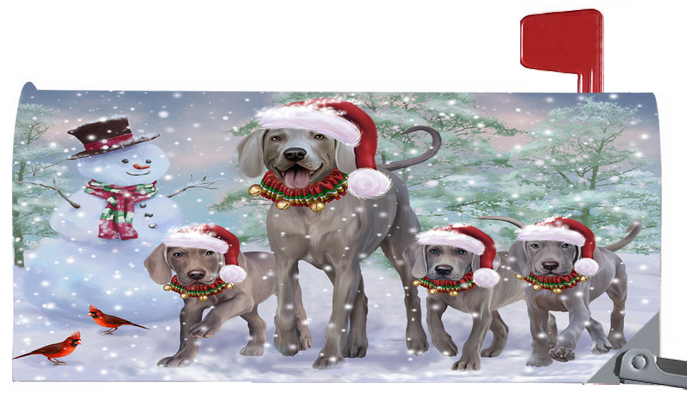 Magnetic Mailbox Cover Christmas Running Family Weimaraners Dogs MBC48276