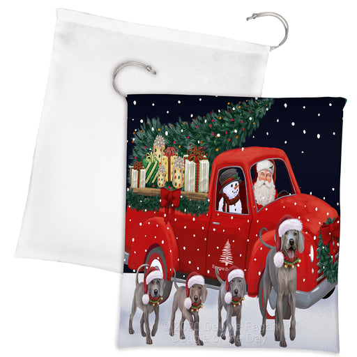 Christmas Express Delivery Red Truck Running Weimaraner Dogs Drawstring Laundry or Gift Bag LGB48939