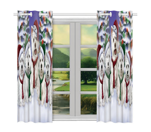 West Highland Terrier Dogs Christmas Family Portrait in Holiday Scenic Background Window Curtain