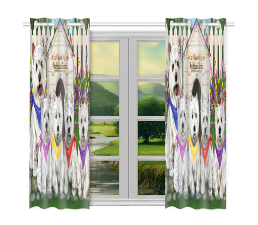 Spring Dog House West Highland Terrier Dogs Window Curtain