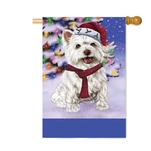 Personalized Winterland Wonderland West Highland Terrier Dog In Christmas Holiday Scenic Background Custom House Flag FLG-DOTD-A61490