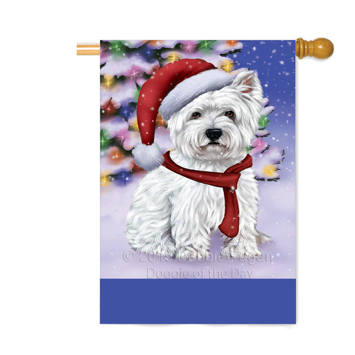Personalized Winterland Wonderland West Highland Terrier Dog In Christmas Holiday Scenic Background Custom House Flag FLG-DOTD-A61491